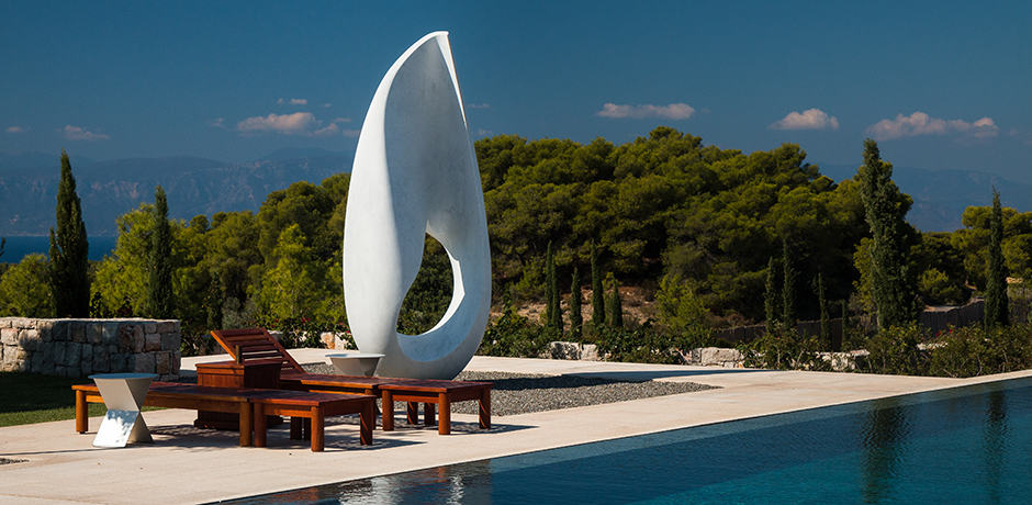 The 9-bedroom villa of Amanzoe is filled with art pieces