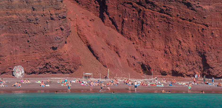 The Red Beach of Santorini was created in a giant volcanic blast over 3500 years ago