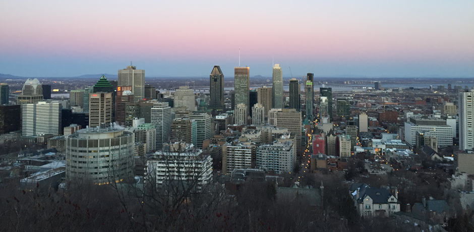 A scenic sunset overlooking downtown from Mont Royal