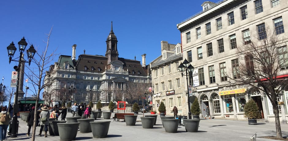 Looking towards City Hall from Place Jacques Cartier