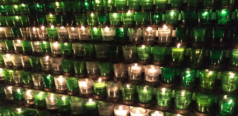 Votive candles lit as tribute in Saint Joseph's Cathedral