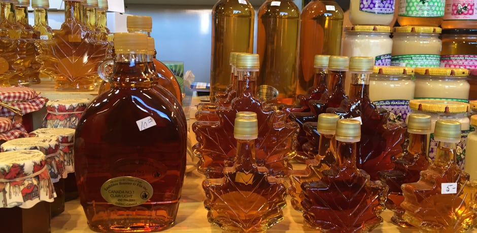 Maple syrup products in decorative containers at the Atwater Market