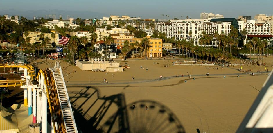 Santa Monica beach from atop the ferris wheel on the pier
