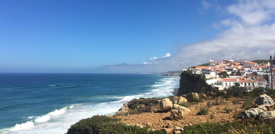 A coastal vista at Azenhas do Mar, a beach town located on a cliff off the coast of Lisbon, near Sintra
