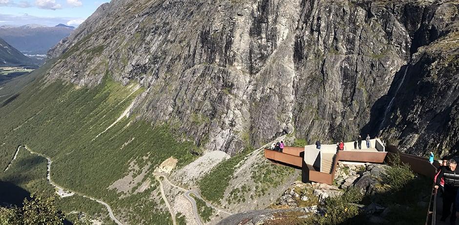 The beautiful viewpoint overlooking Trollstigen, a serpentine mountain road