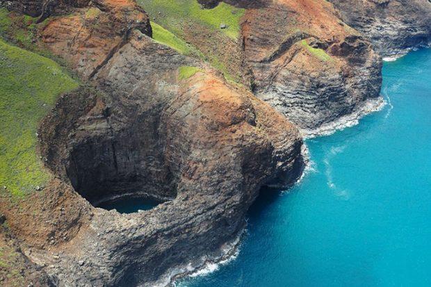 Aerial view of Ke`e Beach in Kauai