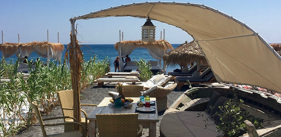 The chic décor at Sea Side, a beach club and restaurant on Perivolos beach on the south side of the island.