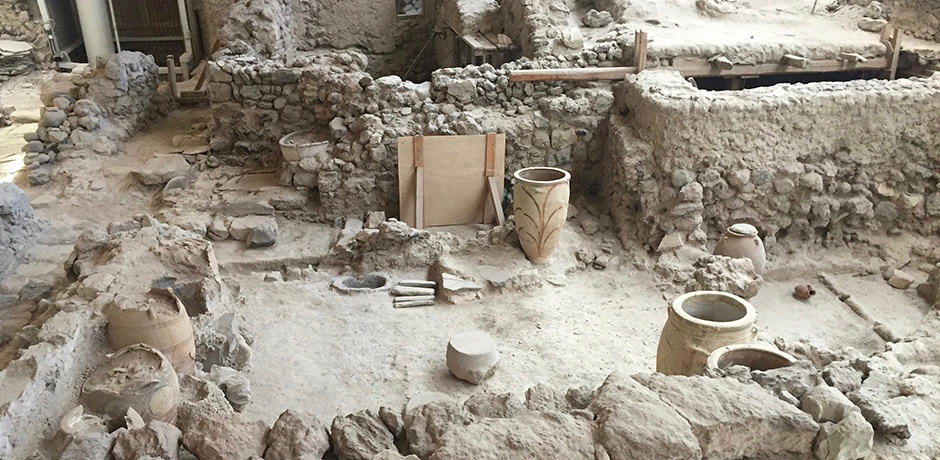 Touring the 3,500-year-old city of Akrotiri, which offers a unique insight into prehistoric civilization.