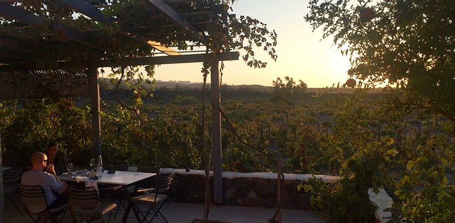 Sunset at Domaine Sigalas winery.