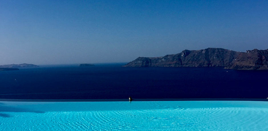 The infinity pool at Perivolas hotel has been featured in countless magazines and iconic photographs.