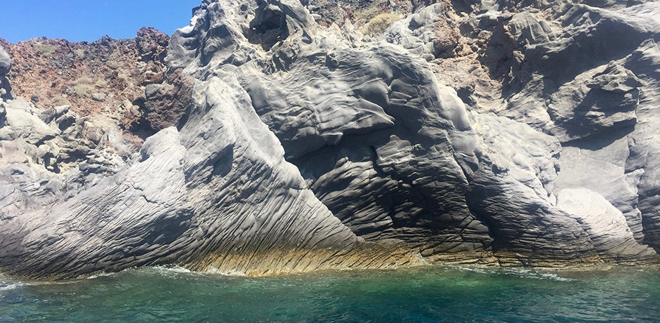 These cliffs on the outside of the caldera are 5,000 years old and famous for their resemblance to elephant skin.