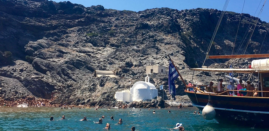While many visit Santorini's hot springs, the water is not noticeably warmer and the attraction is usually swarmed with tourists.