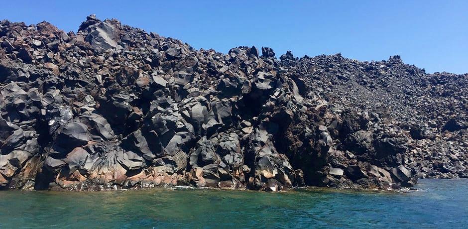The volcanic rock on Nea Kameni, the volcanic island in the center of the caldera.