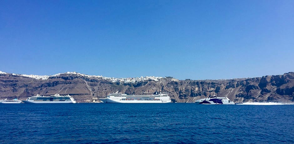 Santorini is very popular with cruises, so avoid visited the most-touristed town of Fira during peak hours.