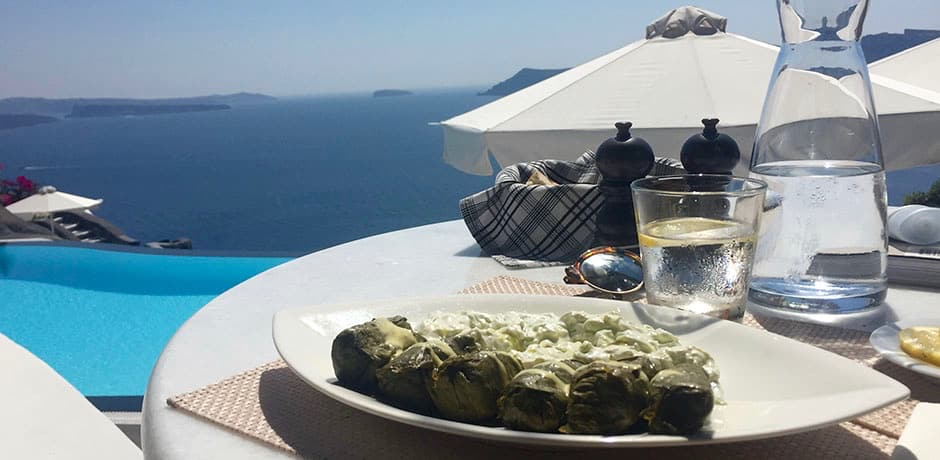 Dolmades with a view at Perivolas.
