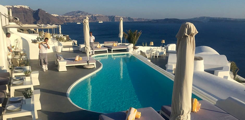 One of three pools at Katikies Hotel, located right in the center of Oia town.