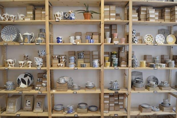 Shelves of dishes at Emma in Stockholm