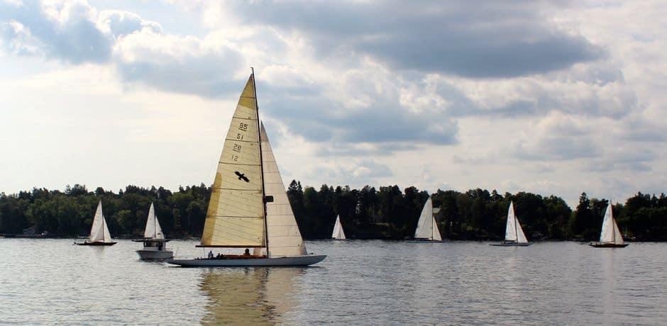 Sailboat race in Stockholm's harbor