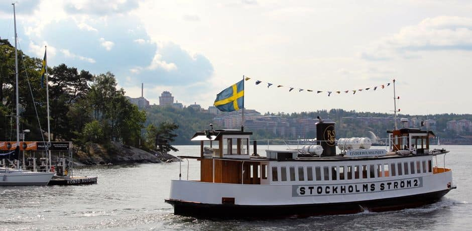 A ferry just outside Stockholm's harbor