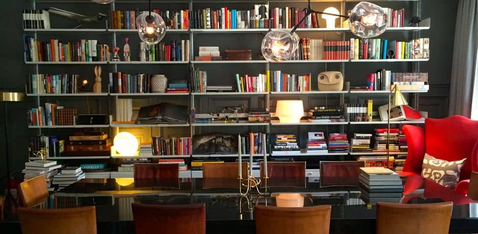 Gorgeous library of Ett Hem, a 12 room boutique hotel located in a posh part of the city