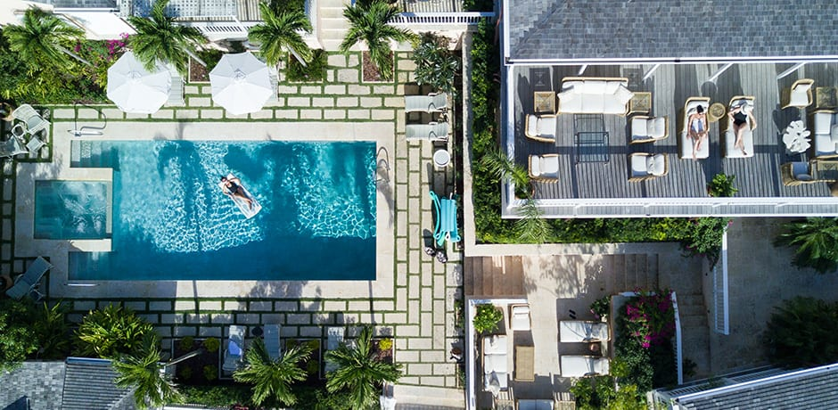 An aerial view of the Bahama House, the newly opened Eleven Experience property on Harbour Island (photo credit Alex Fenlon)