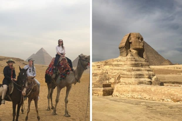 Melissa Biggs Bradley and husband and daughter on camels in front of pyramids in Giza Egypt; the Sphinx in Egypt