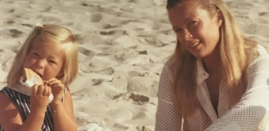 Melissa and her mom at the beach.