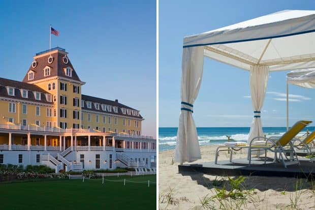 Exterior and beach cabana at Ocean House in Rhode Island