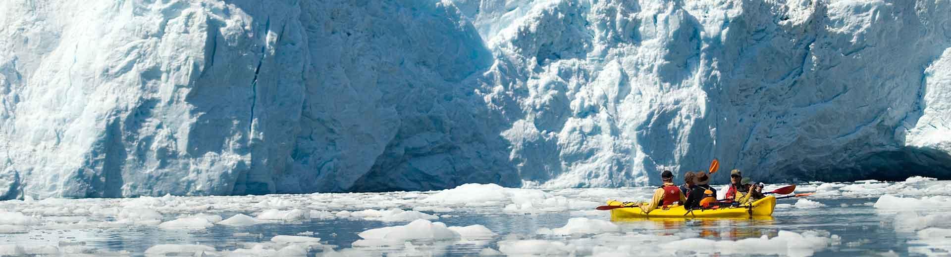 Kayakers in Kenai Fjords National Park in Alaska