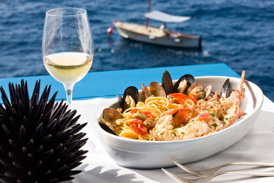 Food at Il Riccio, Capri, Italy