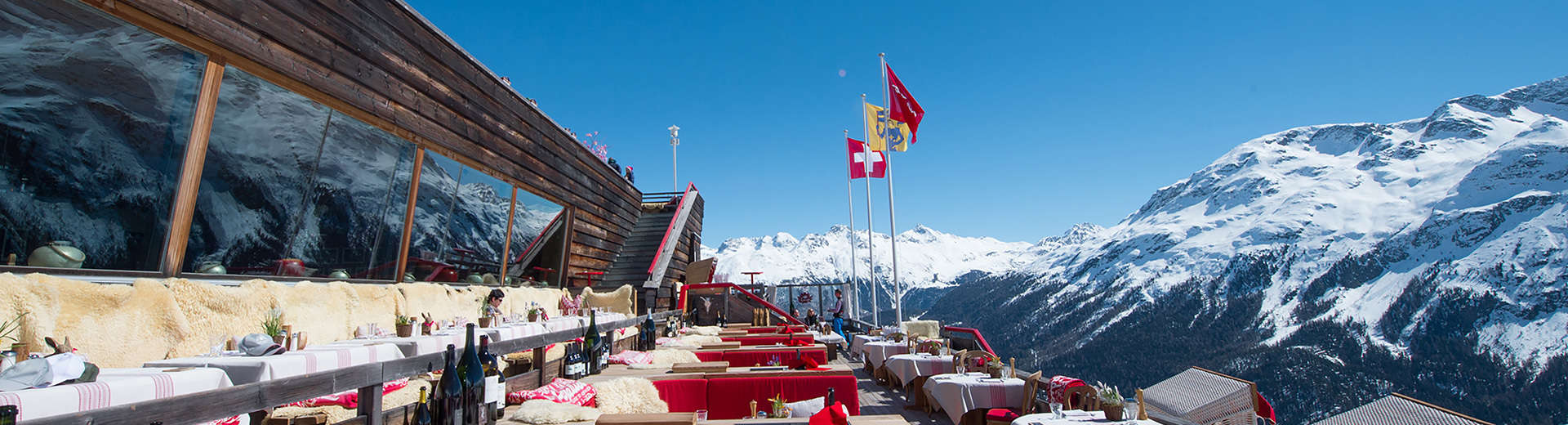 The terrace at El Paradiso in St. Moritz