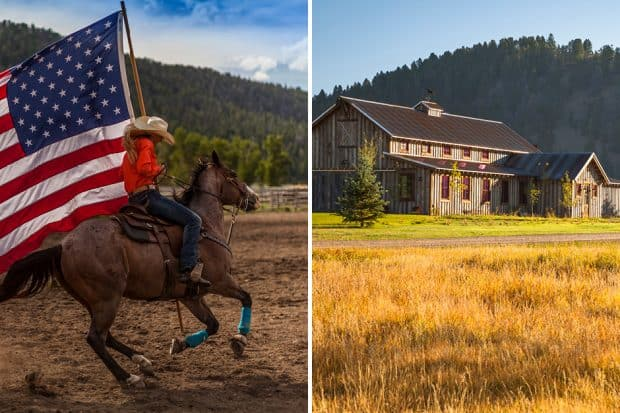 Rodeo horseback rider carrying American flag and exterior of Ranch at Rock Creek in Montana