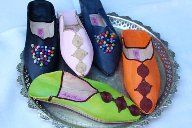 Colorful slippers at Michèle Baconnier in Marrakech