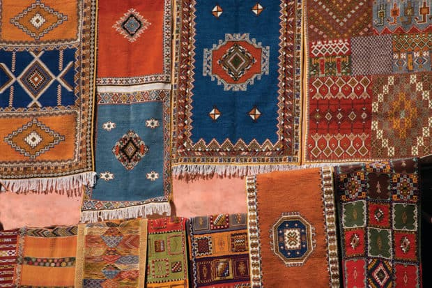 Carpets on display in Marrakech