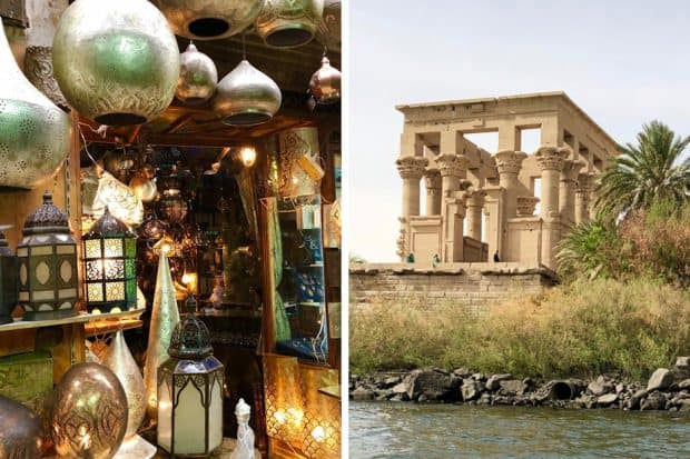 Lanterns in ancient Cairo Egypt; the Temple at Philae on the Nile