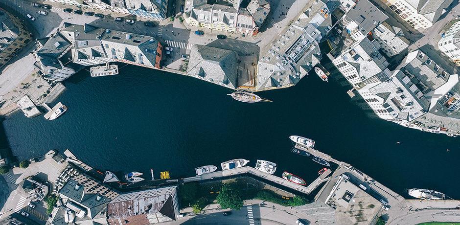 Norway's Ålesund from above, courtesy Geran de Klerk
