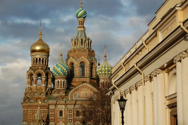 Exterior of Church of the Savior on Blood in St Petersburg Russia