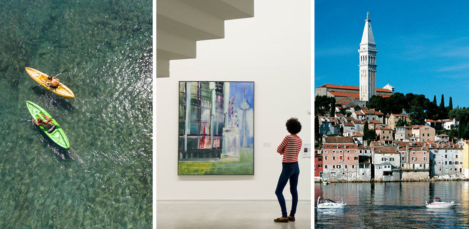 Left: Kayakers at the Four Seasons Costa Rica; Middle: Berlinische Gallerie in Berlin; Right: The Croatian coast