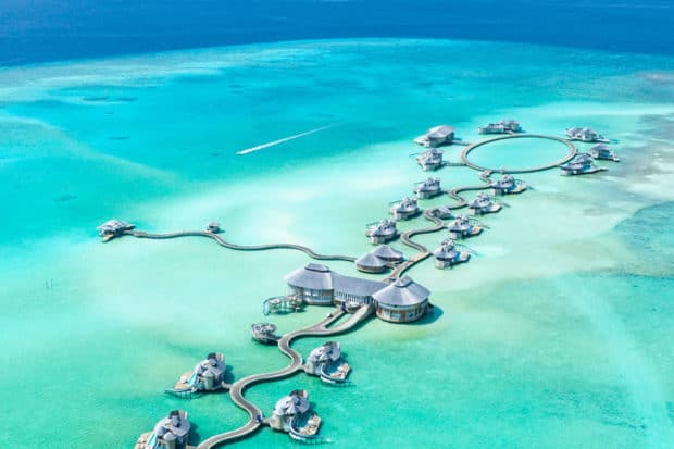 Charter itineraries can include stays at resorts like Soneva Jani in the Maldives.