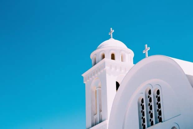 White church steeple on Paros Island in Greece