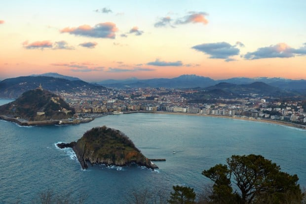 Aerial view of La Concha Bay at sunset as seen from Mount Igeldo, Spain