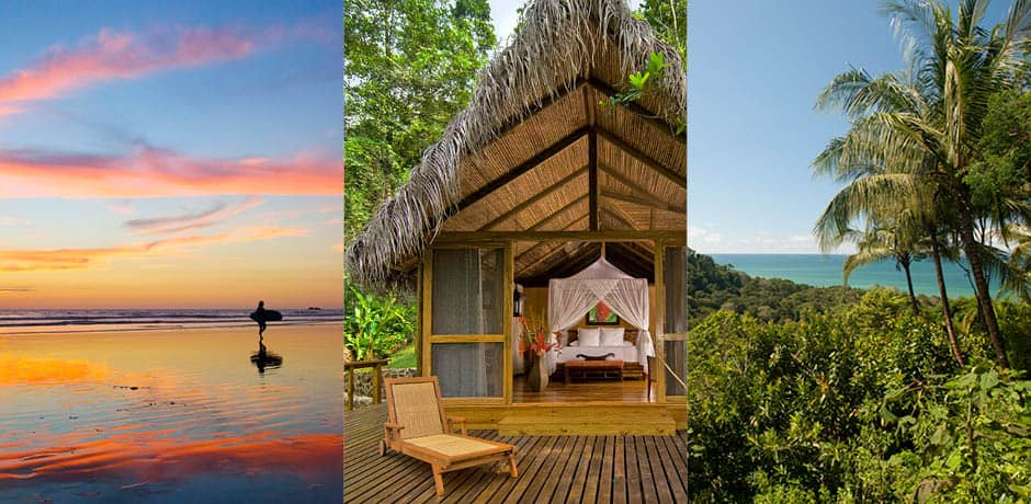 Left to right: Surfing in Nosara; the Honeymoon Suite at Pacuare; the view from Lapa Rios