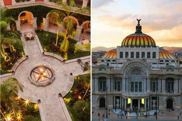 From left: the courtyard of the Rosewood San Miguel de Allende (courtesy Rosewood); the Palacio de Bellas Artes—home to Diego Rivera's famous murals—in Mexico City.