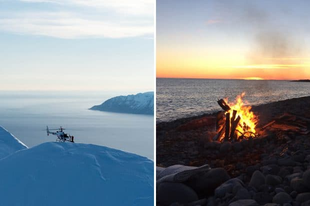 From left: Heli-skiing, a beach bonfire