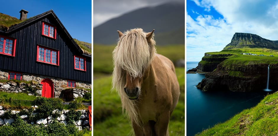 From left: a traditional cottage; a Faroese pony; Mulafossur waterfall (courtesy Visit Faroe Islands; Kimberley Coole)