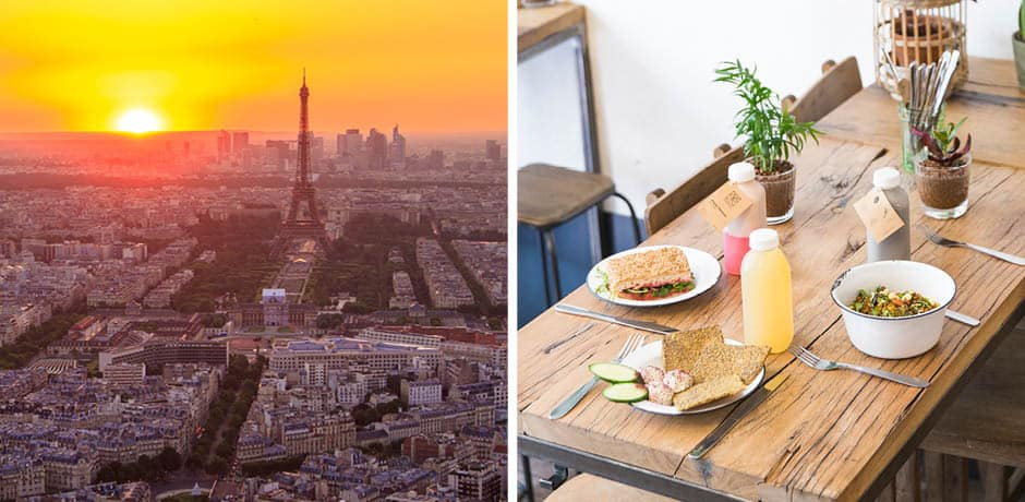 From left: Sunset in Paris; lunch at Wild & The Moon
