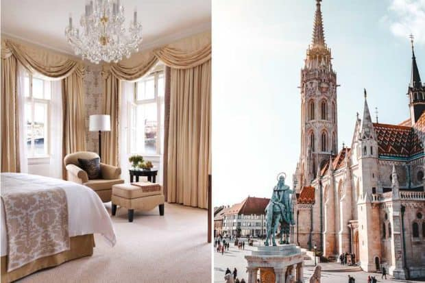 From left: a room at the Four Seasons Prague (courtesy Four Seasons); Matthias Church in Budapest.