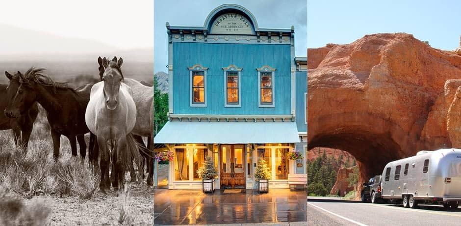 Left to right: Mustang Monument, Courtesy Jo Danehy; Scarp Ridge Lodge; Airstream 2 Go
