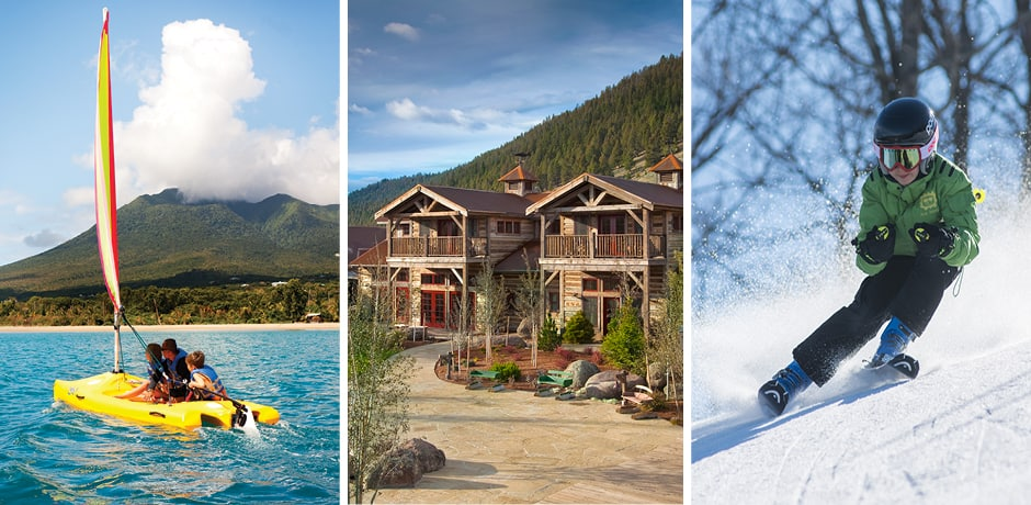From left: Four Seasons Nevis, The Ranch at Rock Creek, skiing