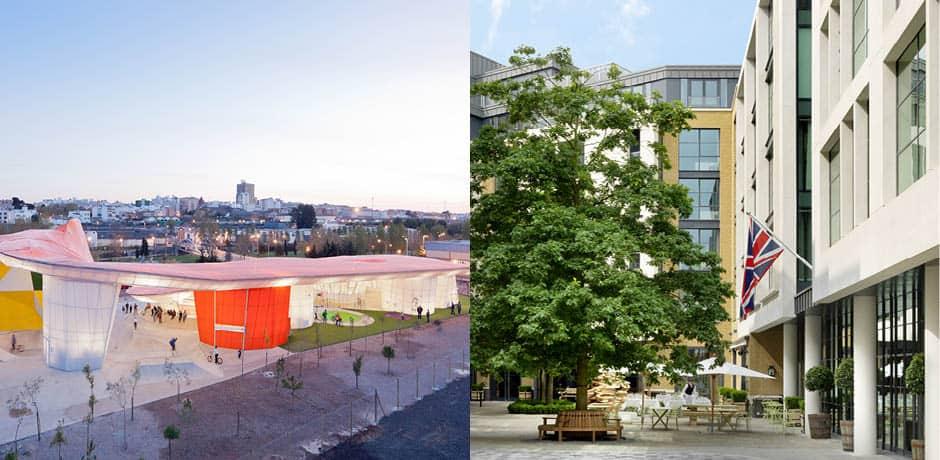 Left: The Serpentine Pavillion, Courtesy Iwan Baan; Right: The Ham Yard Hotel